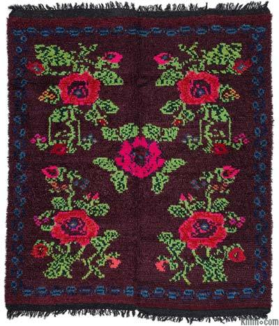 Red Vintage Turkish Tulu Rug - 5'3'' x 6'3'' (63 in. x 75 in.)
