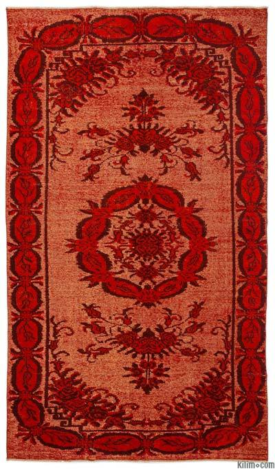 Orange Hand Carved Over-Dyed Rug - 5'3'' x 9' (63 in. x 108 in.)