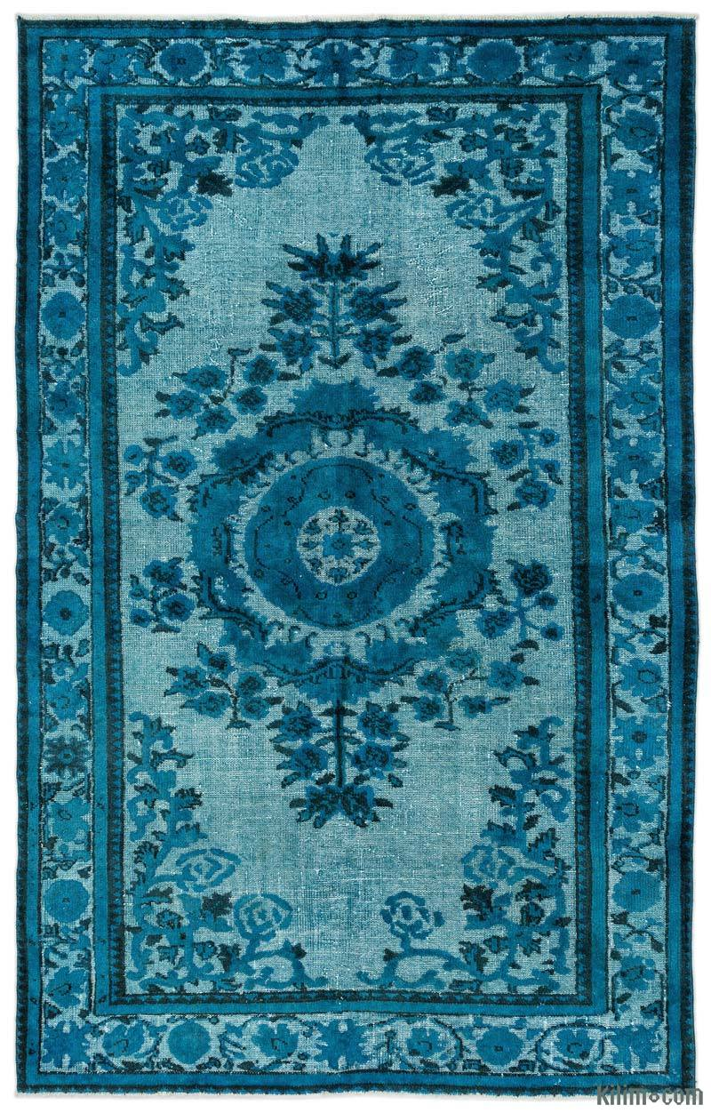 K0015920 Turquoise Hand Carved Over Dyed Rug 6 X 9 5