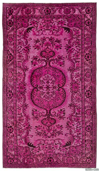 Pink Hand Carved Over-Dyed Rug - 5'5'' x 9'3'' (65 in. x 111 in.)
