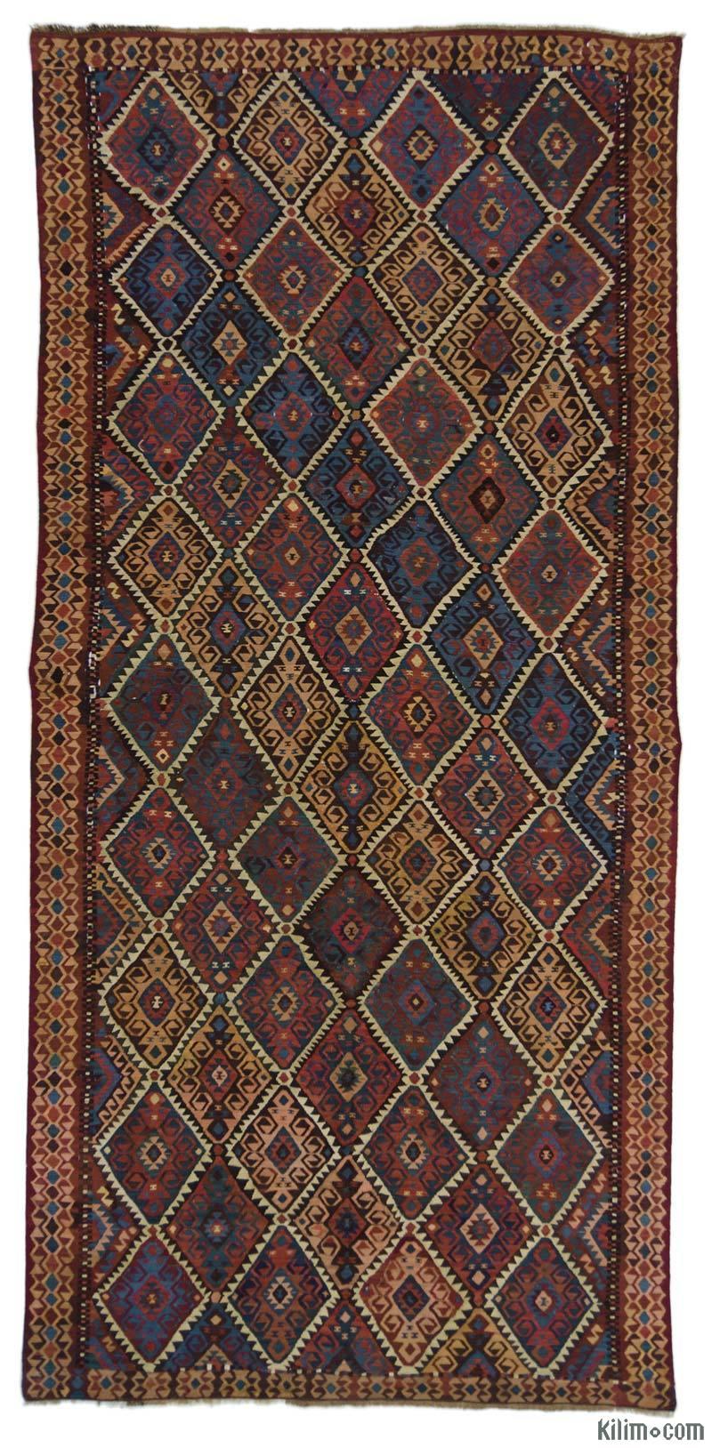 K0015963 Brown Vintage Kagizman Kilim Rug 4 11 X 10 6