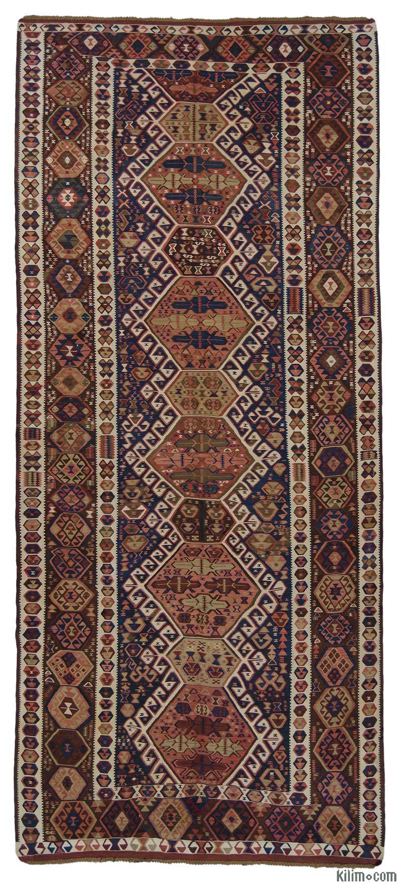 K0015966 Blue Antique Kagizman Kilim Rug
