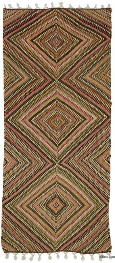 Green, Multicolor Vintage Erzurum Kilim Rug - 5'3'' x 12'2'' (63 in. x 146 in.)