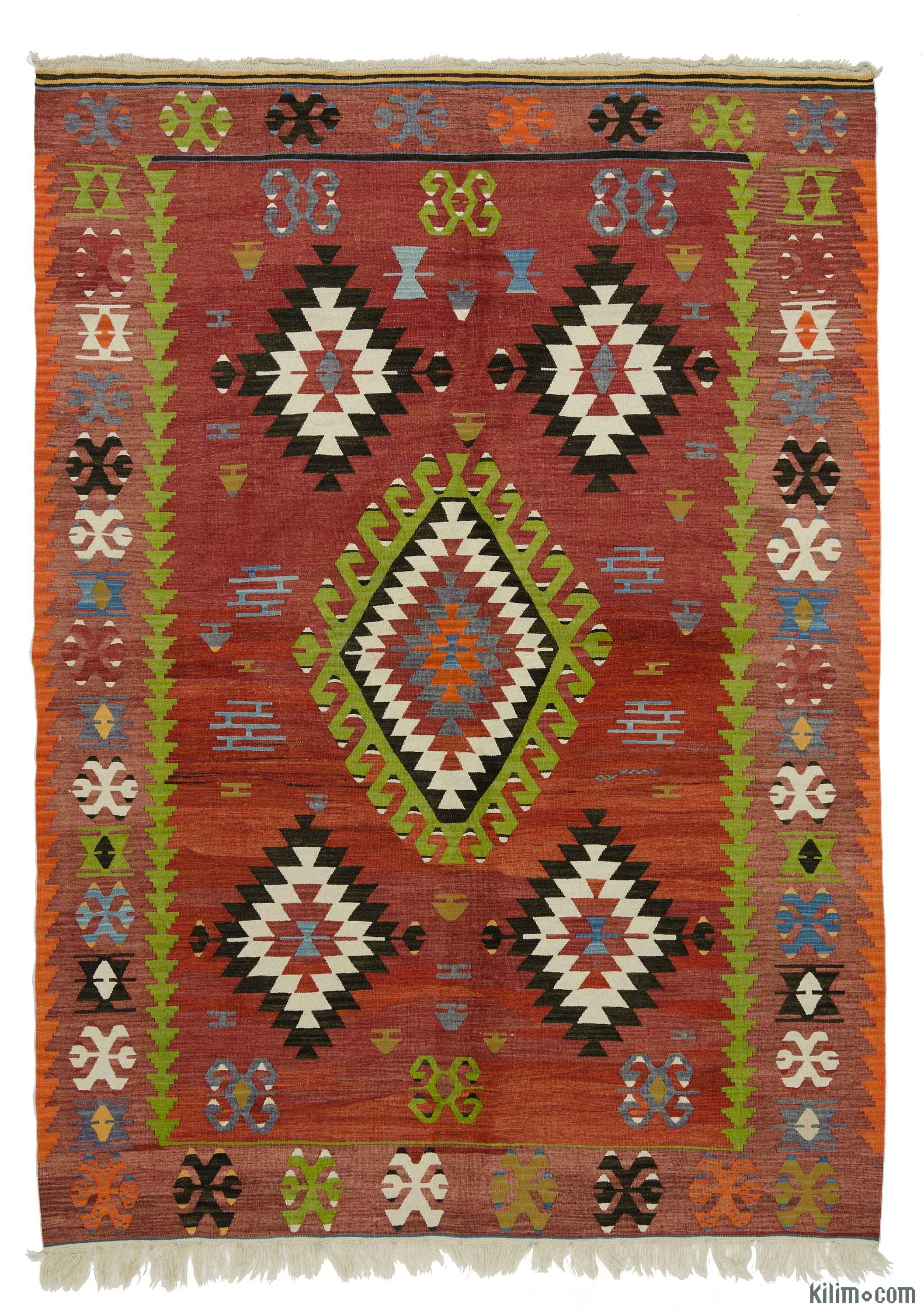 Rugs And Kilims Are The Master Elements Of Bohemian Style: K0016021 Red Vintage Ushak Kilim Rug