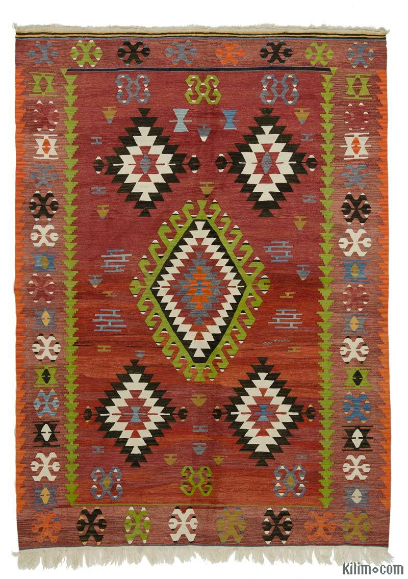 K0016021 Red Vintage Ushak Kilim Rug 6 X 8 6 72 In