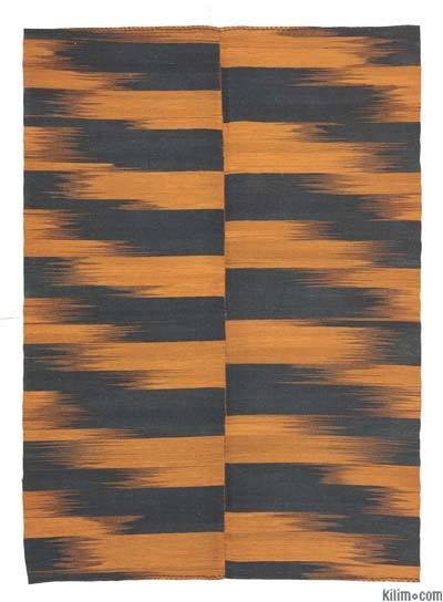 Orange, Black Neo Caspian Kilim Rug