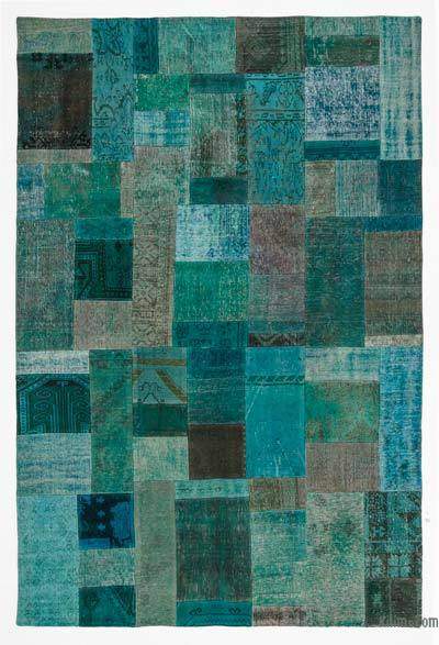 Turquoise Over-dyed Turkish Patchwork Rug - 6'8'' x 9'11'' (80 in. x 119 in.)