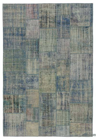 "Over-dyed Turkish Patchwork Rug - 6'8"" x 9'10"" (80 in. x 118 in.)"