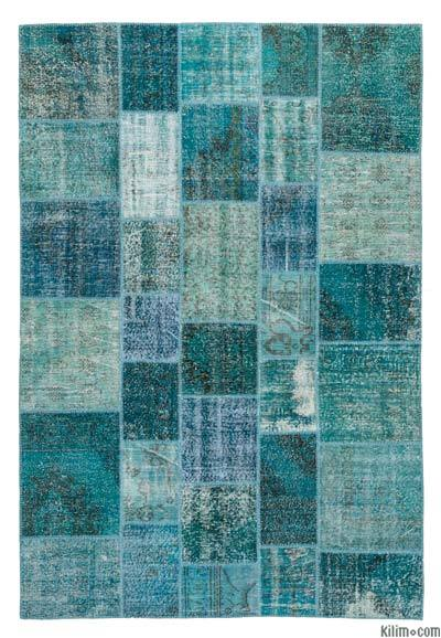 Blue, Turquoise Over-dyed Turkish Patchwork Rug - 6'8'' x 9'11'' (80 in. x 119 in.)