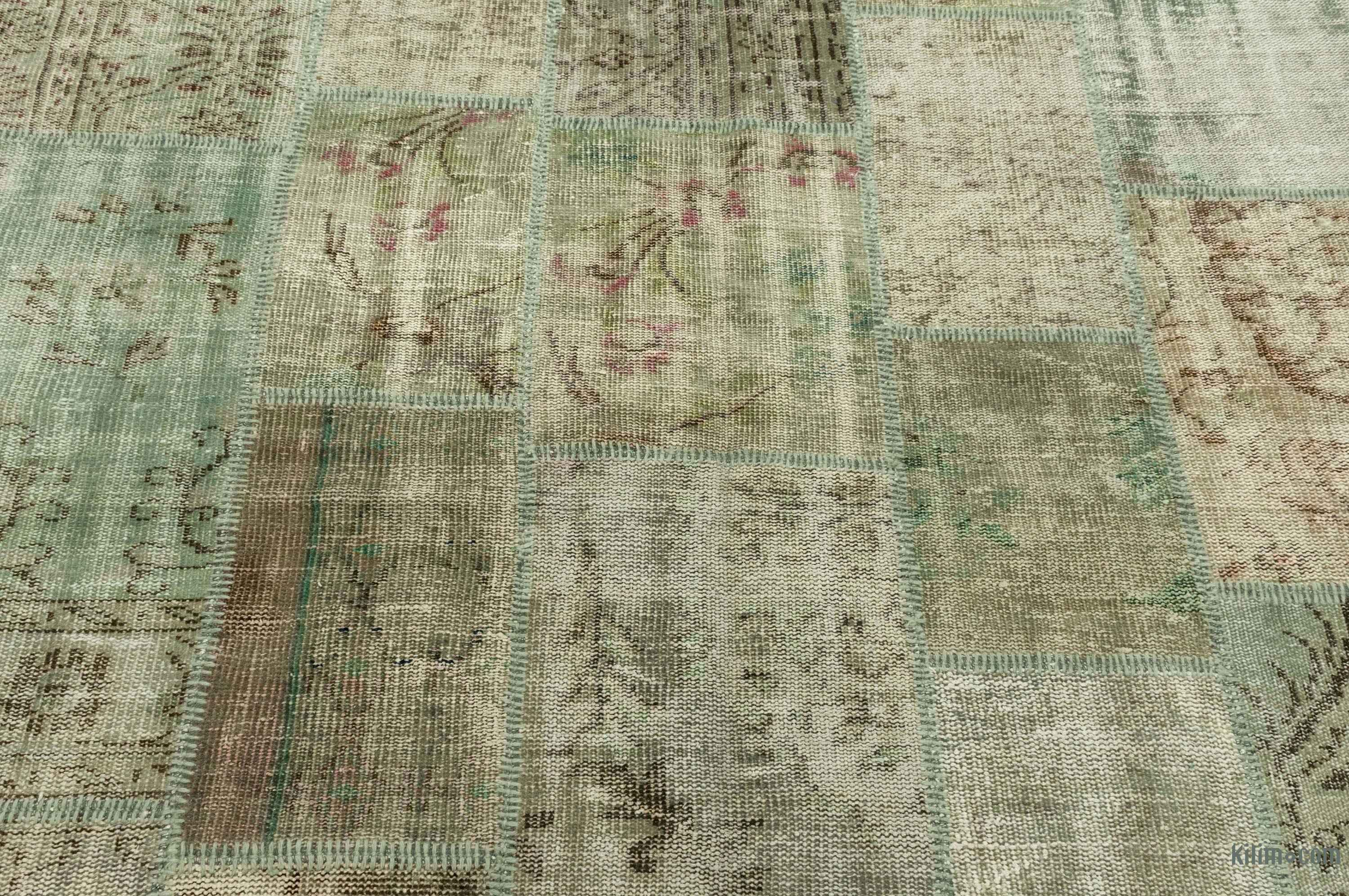 K0016074 Green Grey Over Dyed Turkish Patchwork Rug 6 8