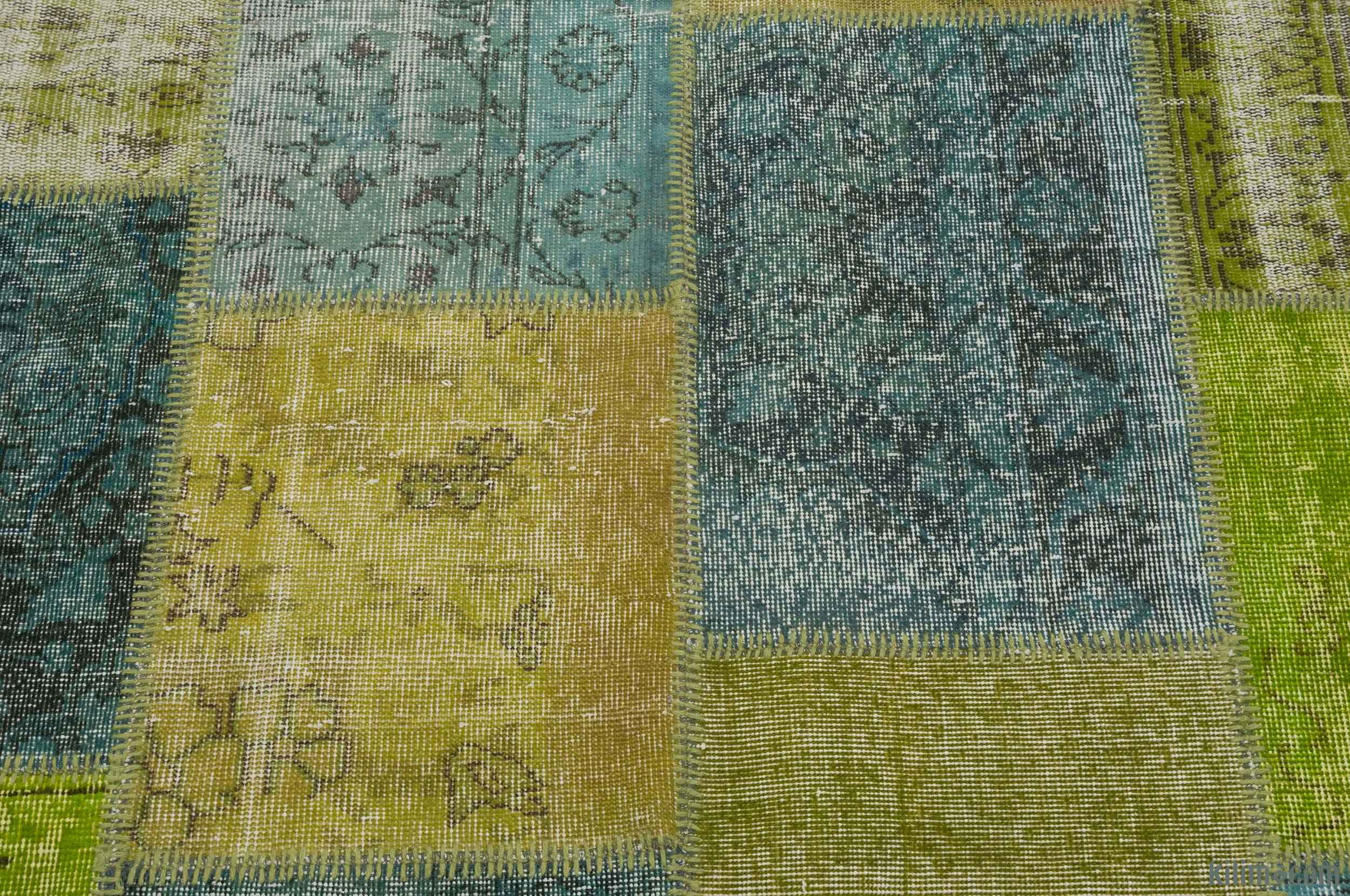 K0016076 Yellow Grey Over Dyed Turkish Patchwork Rug 8