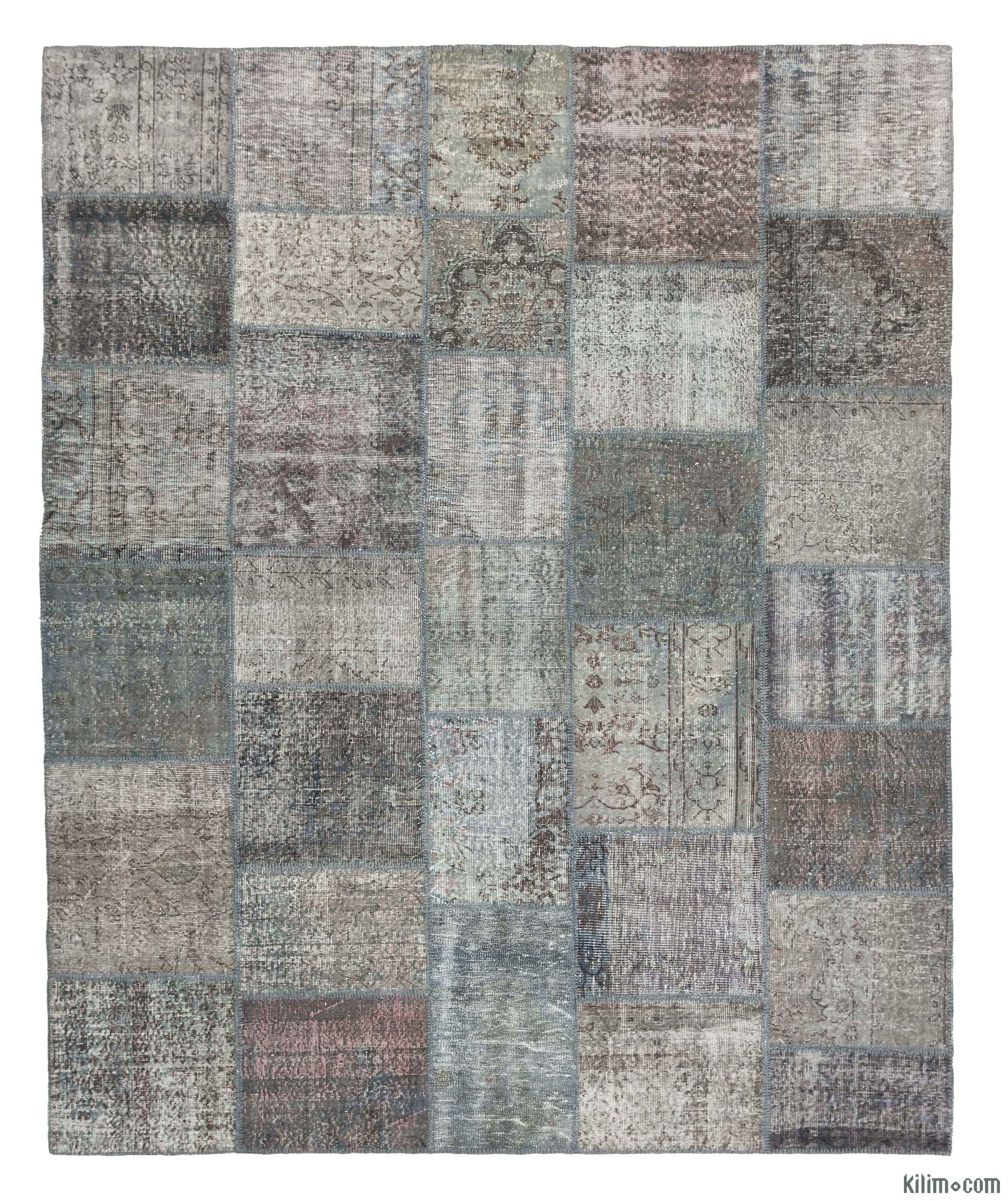 Grey Over Dyed Turkish Patchwork Rug 8 2