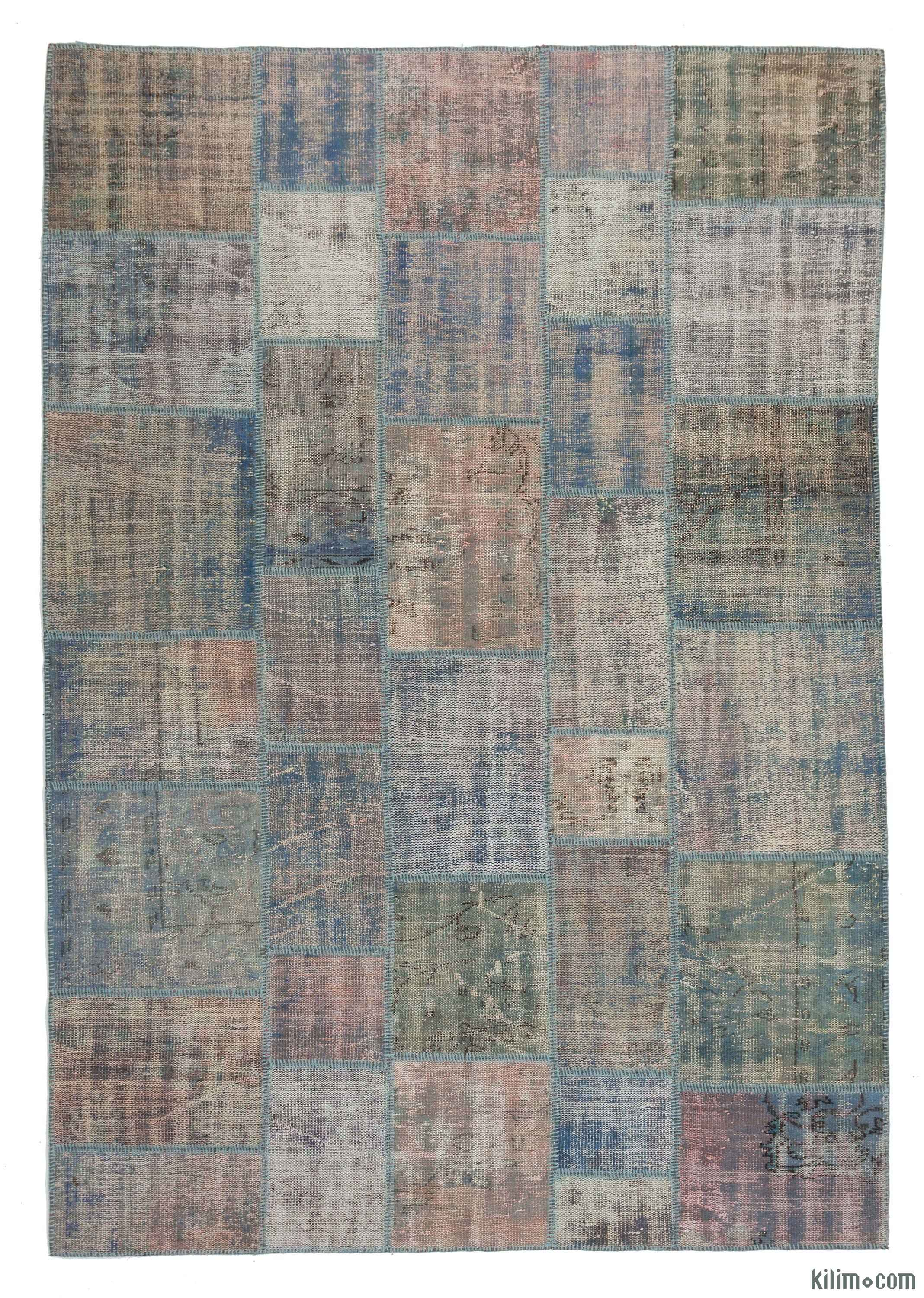 Blue Over Dyed Turkish Patchwork Rug 6 8
