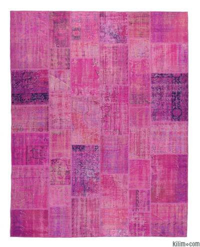 Pink, Purple Over-dyed Turkish Patchwork Rug - 8' x 10'2'' (96 in. x 122 in.)