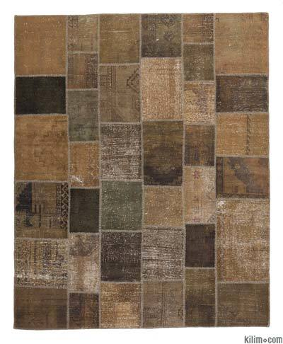 Brown Over-dyed Turkish Patchwork Rug - 8'1'' x 9'10'' (97 in. x 118 in.)