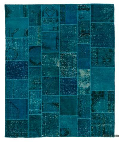 Turquoise Over-dyed Turkish Patchwork Rug - 8'2'' x 10' (98 in. x 120 in.)
