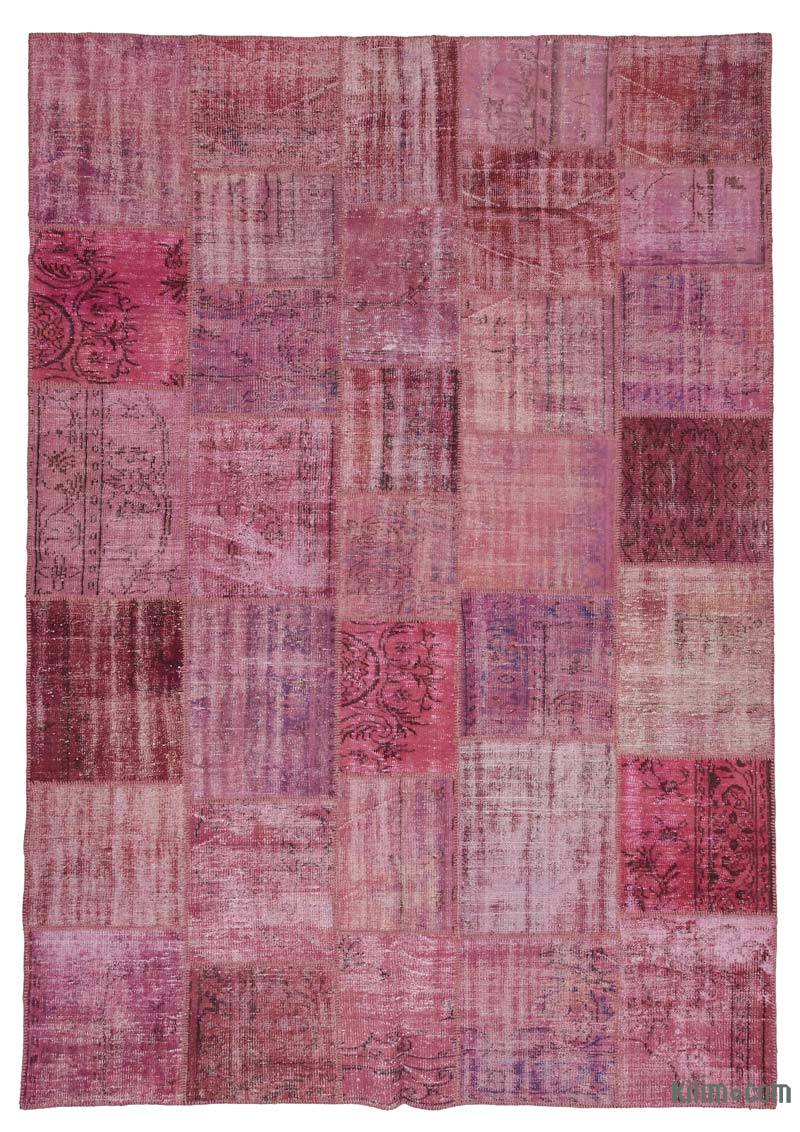 K0016101 Pink Over Dyed Turkish Patchwork Rug 8 2 X 11