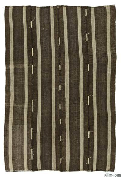 Brown Vintage Turkish Kilim Rug - 5'2'' x 7'5'' (62 in. x 89 in.)