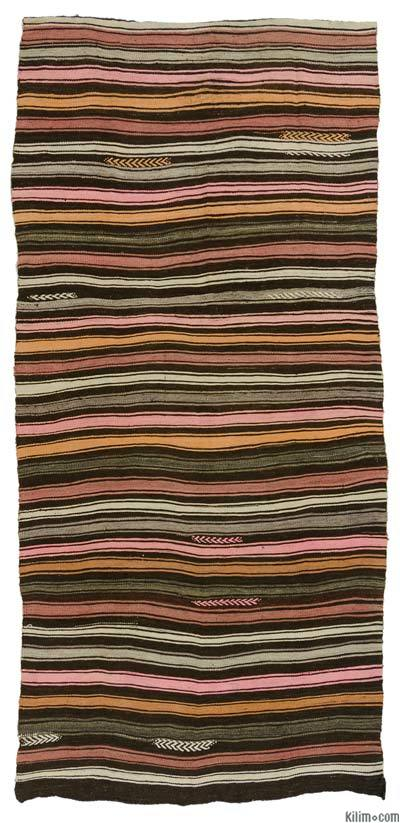 Brown, Pink Vintage Turkish Kilim Rug - 4'5'' x 9'4'' (53 in. x 112 in.)
