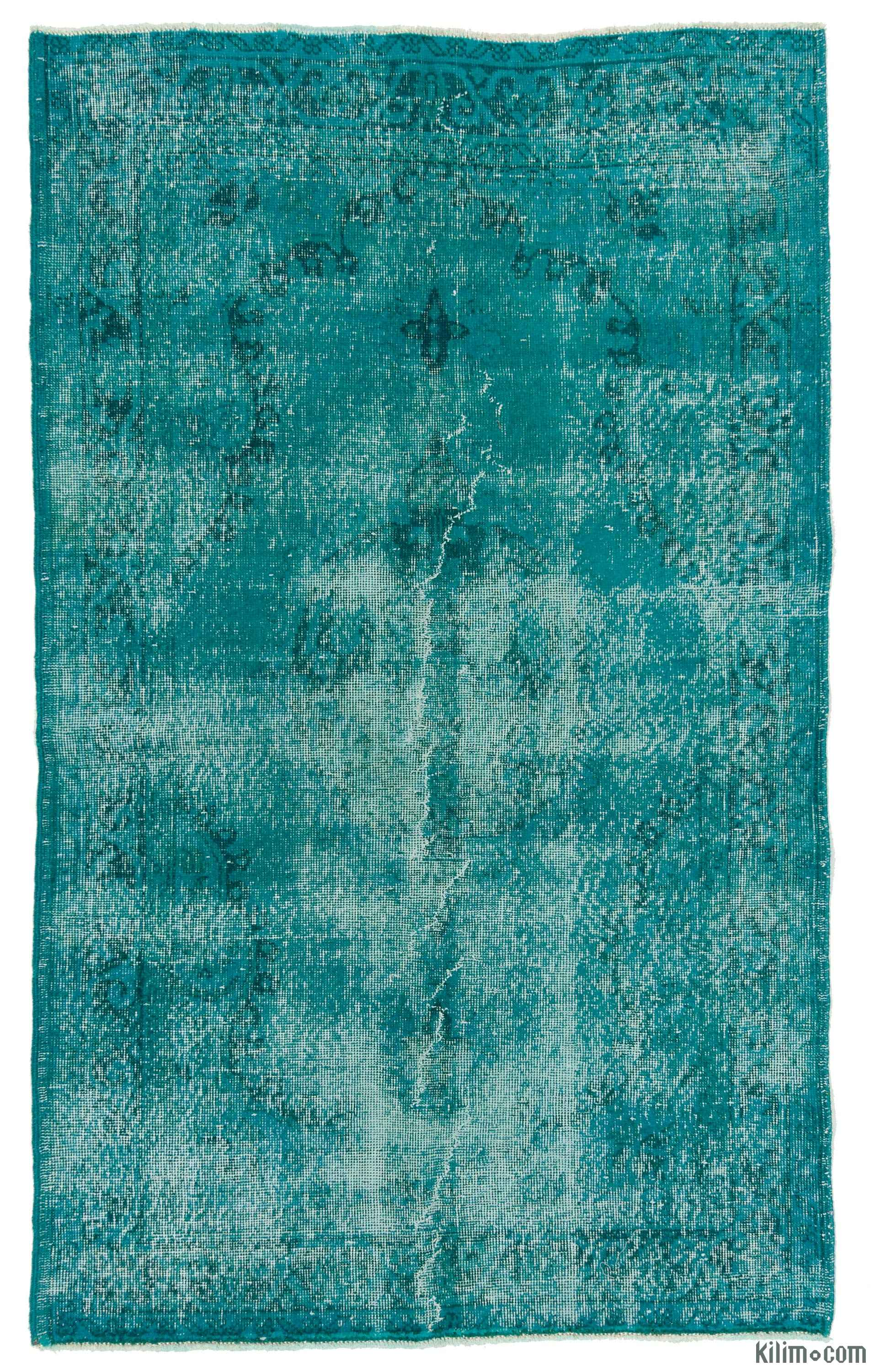 Turquoise Over Dyed Turkish Vintage Rug