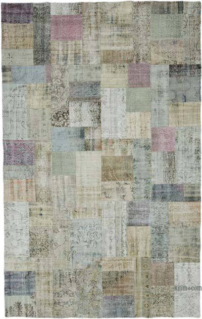 Multicolor Over-dyed Turkish Patchwork Rug - 7'6'' x 12' (90 in. x 144 in.)