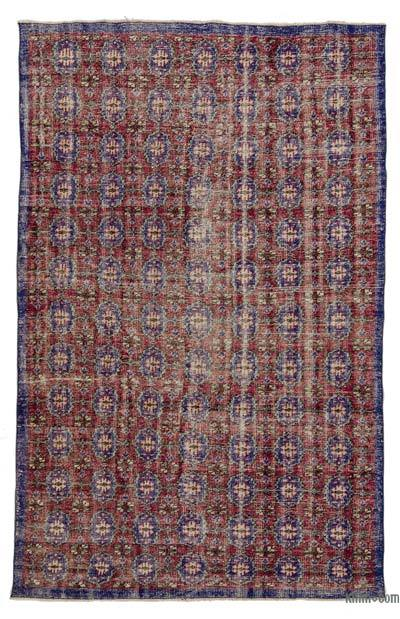 Red, Blue Turkish Vintage Area Rug - 5'7'' x 9' (67 in. x 108 in.)