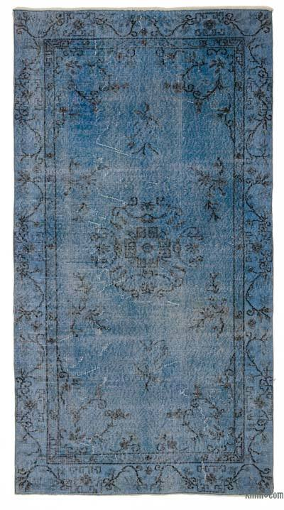 Blue Over-dyed Turkish Vintage Rug - 3'9'' x 7'1'' (45 in. x 85 in.)