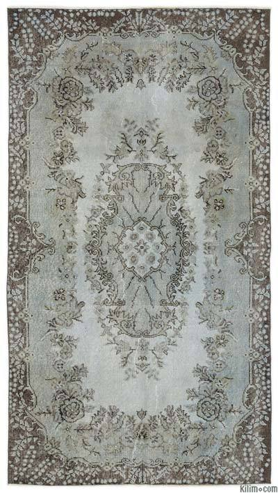 Light Blue Over-dyed Turkish Vintage Rug - 3'8'' x 6'11'' (44 in. x 83 in.)