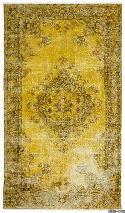 Yellow Over-dyed Turkish Vintage Rug - 4'8'' x 8'2'' (56 in. x 98 in.)