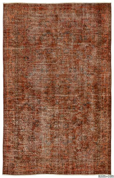 Orange Over-dyed Turkish Vintage Rug - 5'7'' x 8'10'' (67 in. x 106 in.)