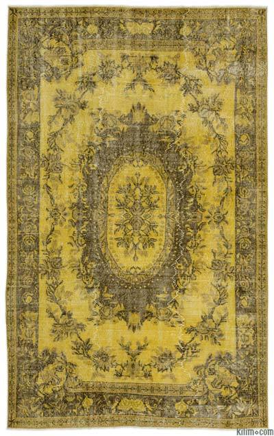 Yellow Over-dyed Turkish Vintage Rug - 5'6'' x 8'11'' (66 in. x 107 in.)