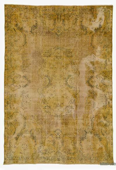 Yellow Over-dyed Turkish Vintage Rug - 6'5'' x 9'7'' (77 in. x 115 in.)