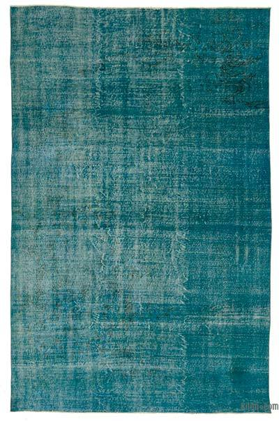 Turquoise Over-dyed Turkish Vintage Rug - 6'9'' x 10'2'' (81 in. x 122 in.)