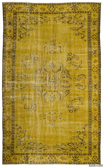 Yellow Over-dyed Turkish Vintage Rug - 5'11'' x 10' (71 in. x 120 in.)