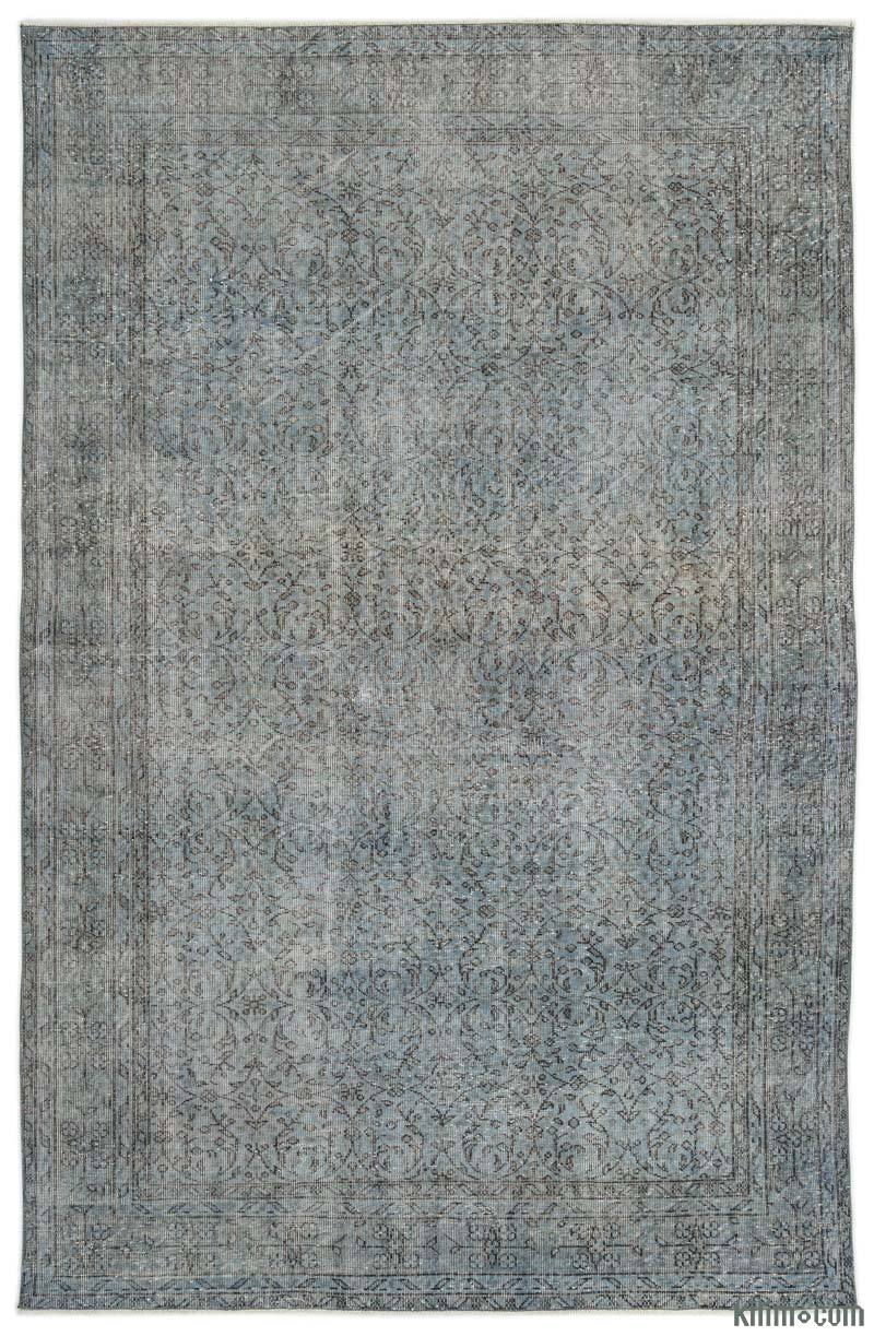 K0017892 Light Blue Over Dyed Turkish Vintage Rug 6 5