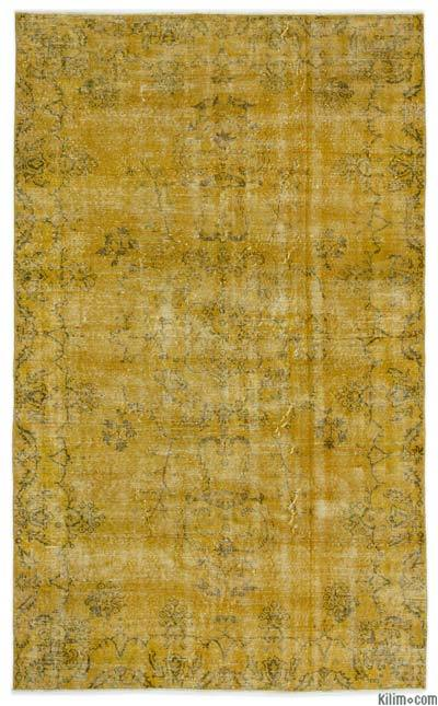 Yellow Over-dyed Turkish Vintage Rug - 5'4'' x 8'8'' (64 in. x 104 in.)