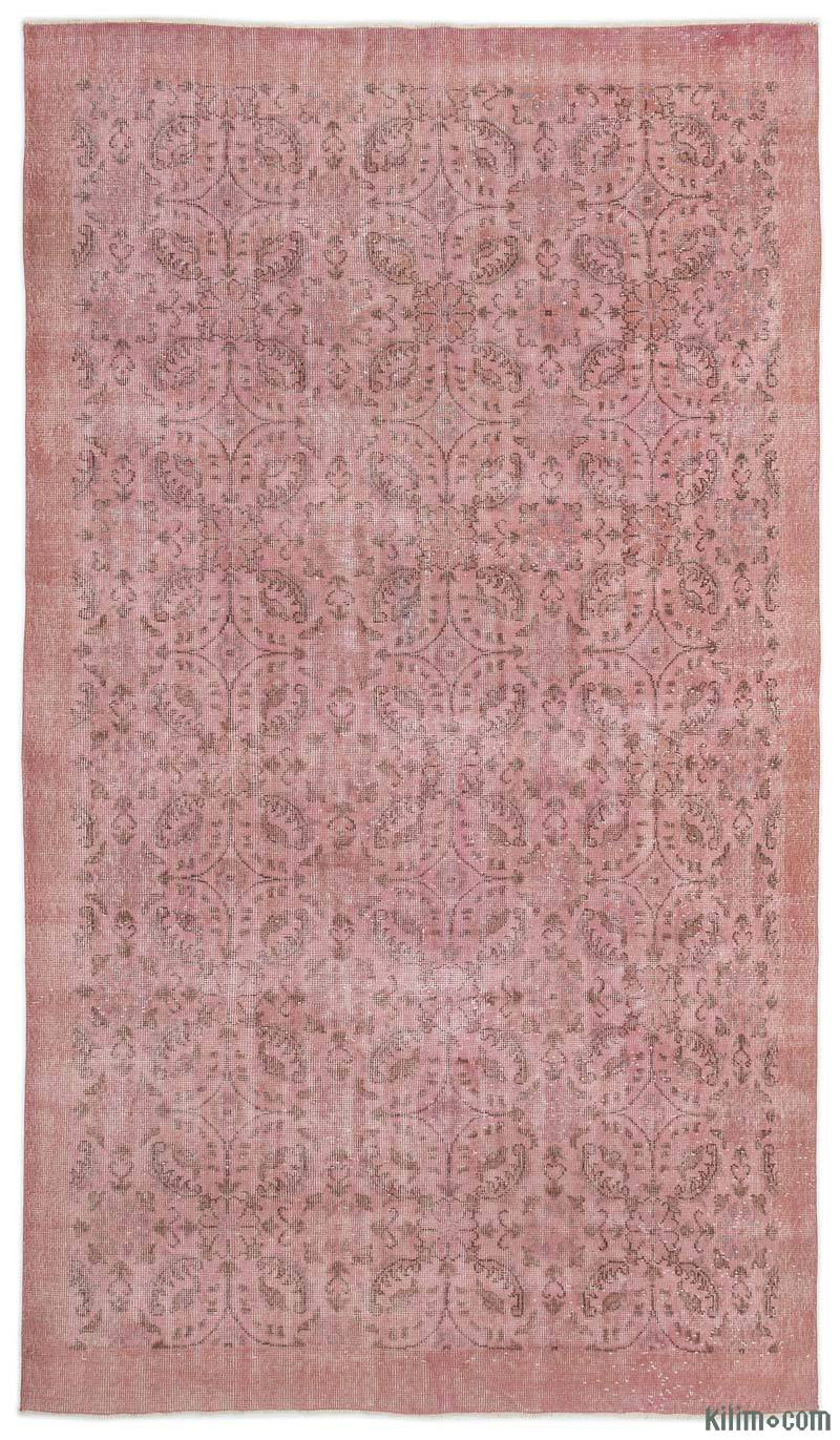K0017925 Pink Over Dyed Turkish Vintage Rug 5 7 X 9 8