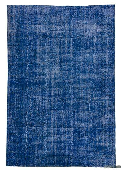 Blue Over-dyed Turkish Vintage Rug - 6'4'' x 9'6'' (76 in. x 114 in.)