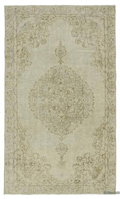 Beige Over-dyed Turkish Vintage Rug - 5' x 8'7'' (60 in. x 103 in.)