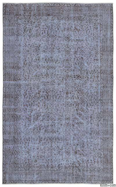 Light Blue Over-dyed Turkish Vintage Rug - 5'5'' x 8'11'' (65 in. x 107 in.)