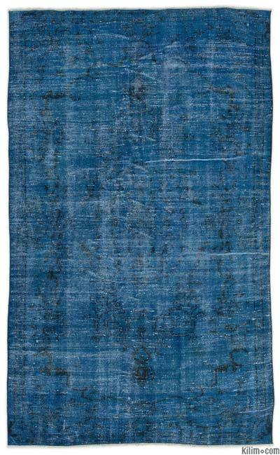 Turquoise Over-dyed Turkish Vintage Rug - 4'7'' x 7'8'' (55 in. x 92 in.)