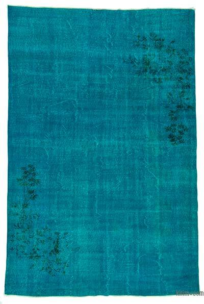 Turquoise Over-dyed Turkish Vintage Rug - 6'9'' x 10'4'' (81 in. x 124 in.)