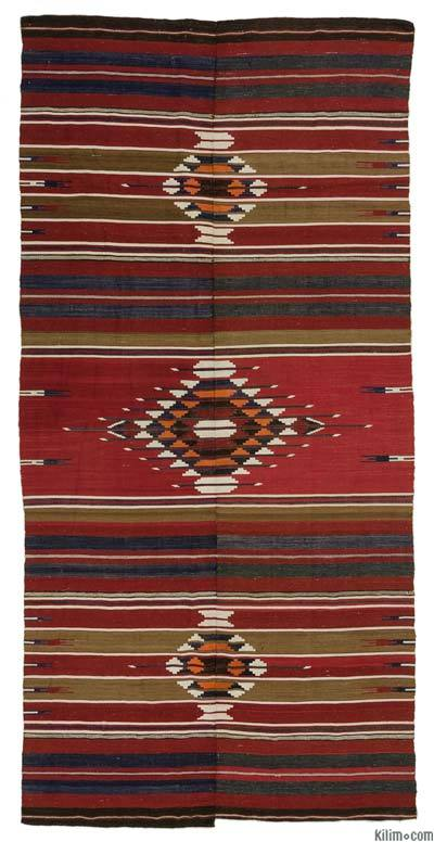 "Vintage Turkish Kilim Rug - 5'2"" x 10'6"" (62 in. x 126 in.)"