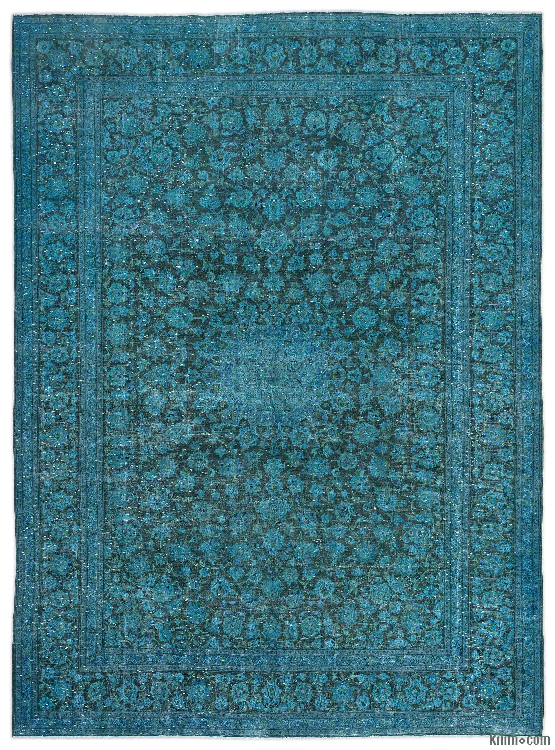 Turquoise Over Dyed Vintage Rug 9 11 X 13 4 119 In 160