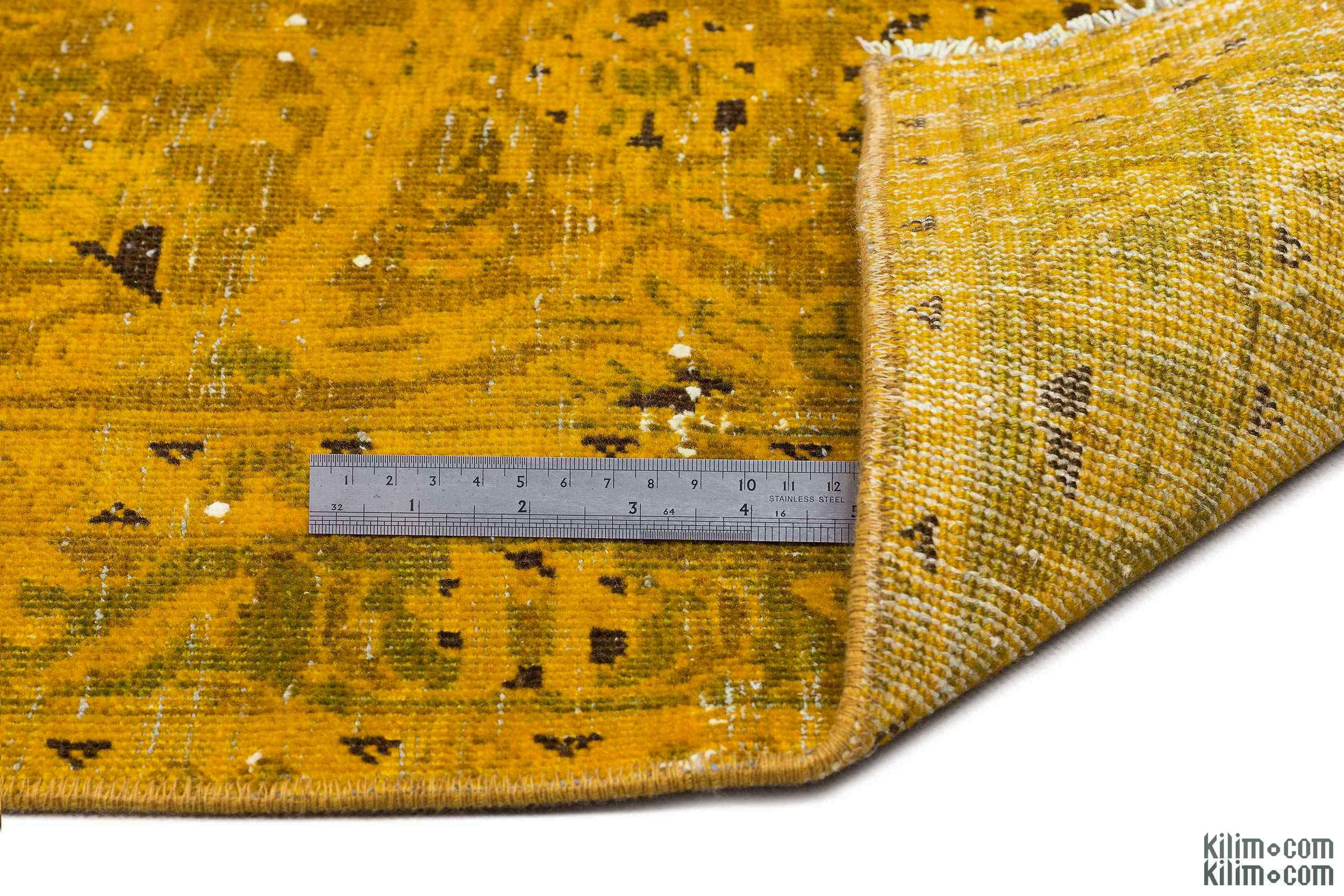 K0018452 Yellow Over-dyed Persian Vintage Rug