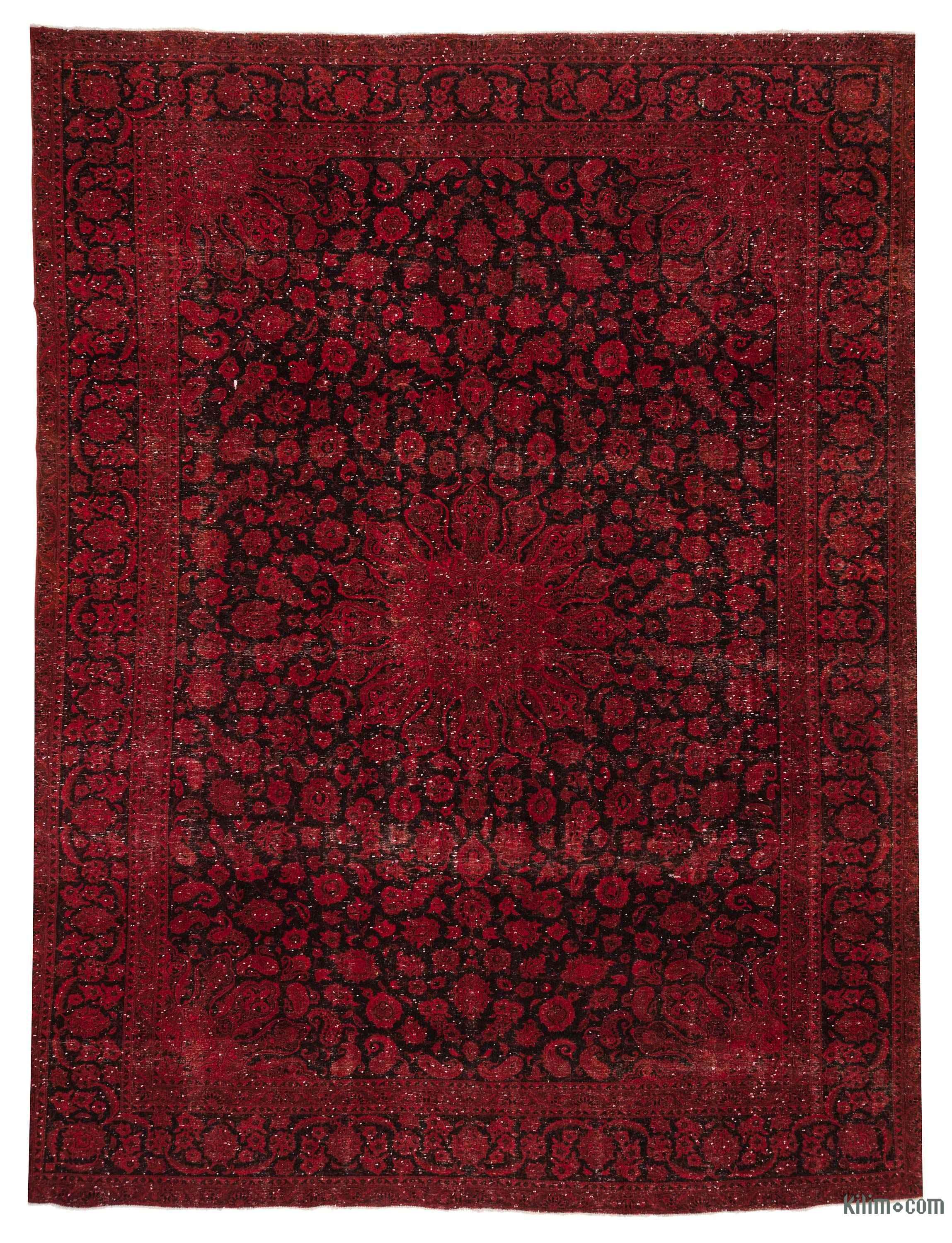 K0018539 Red Over Dyed Vintage Hand Knotted Oriental Rug