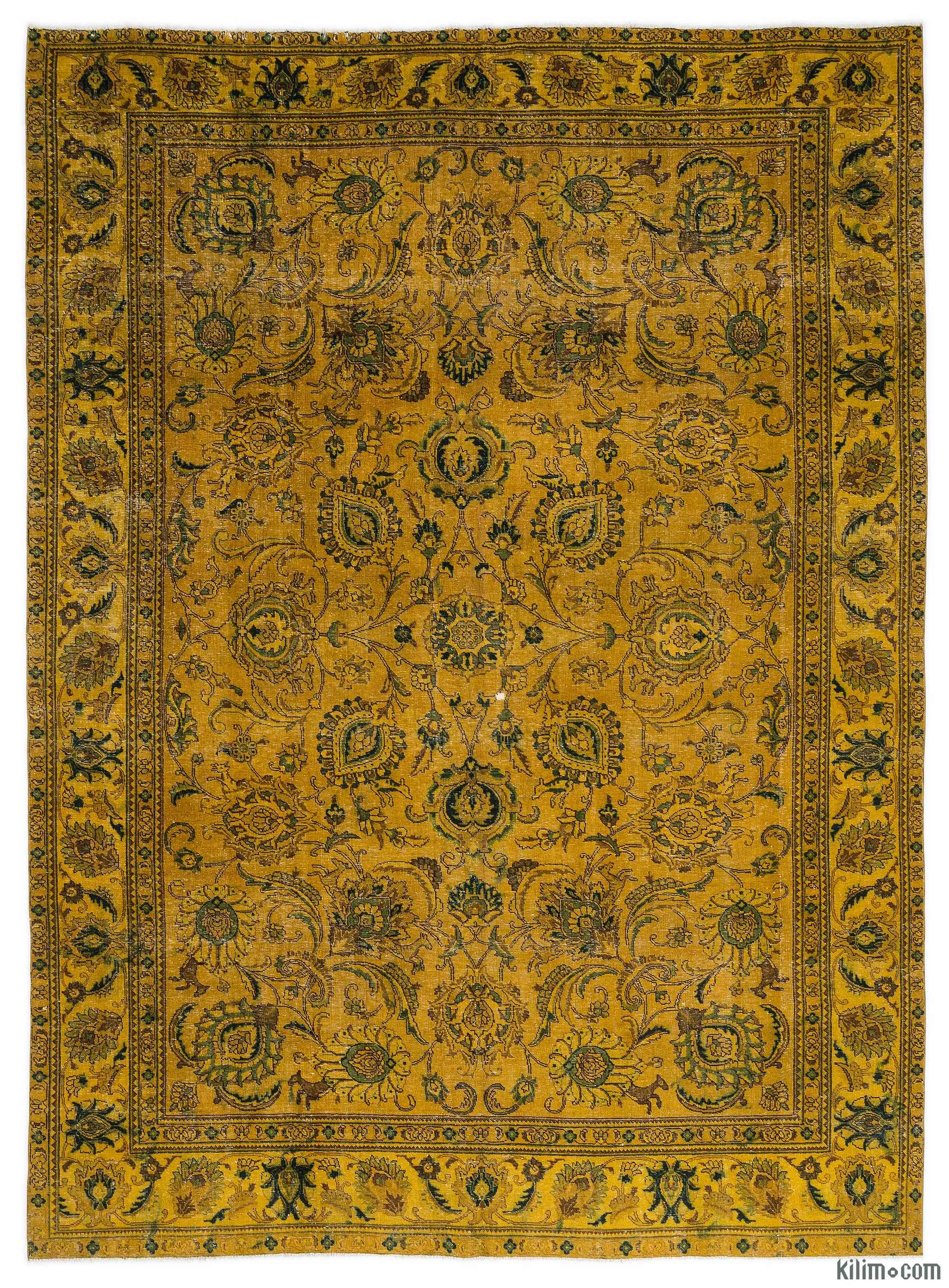 Yellow Over Dyed Vintage Hand Knotted Oriental Rug 9 1