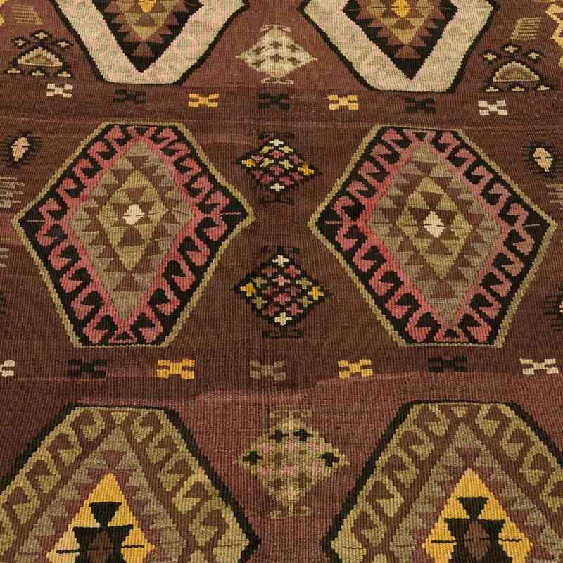 K0018631 Brown Vintage Kagizman Kilim Rug 4 7 X 12 10