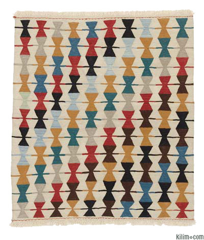 "New Turkish Kilim Rug - 4'2"" x 4'8"" (50 in. x 56 in.)"