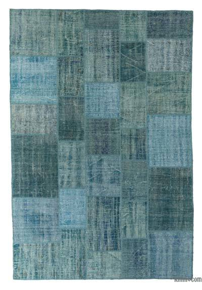 "Over-dyed Turkish Patchwork Rug - 6'7"" x 9'11"" (79 in. x 119 in.)"